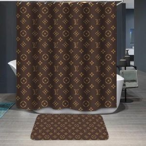 2pc Brown Shower Curtain and Floor Mat Set